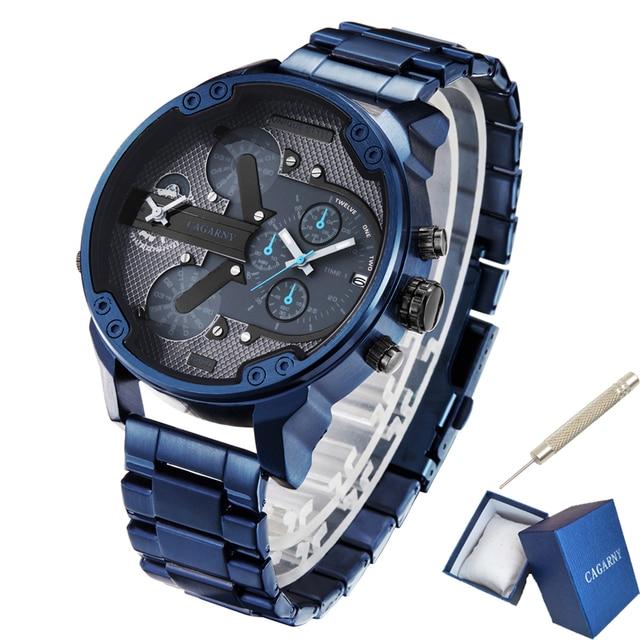 Cagarny 6820 klasik tasarım Quartz saat erkekler moda erkek bilek saatler mavi paslanmaz çelik çift kez Relogio Masculino xfcs