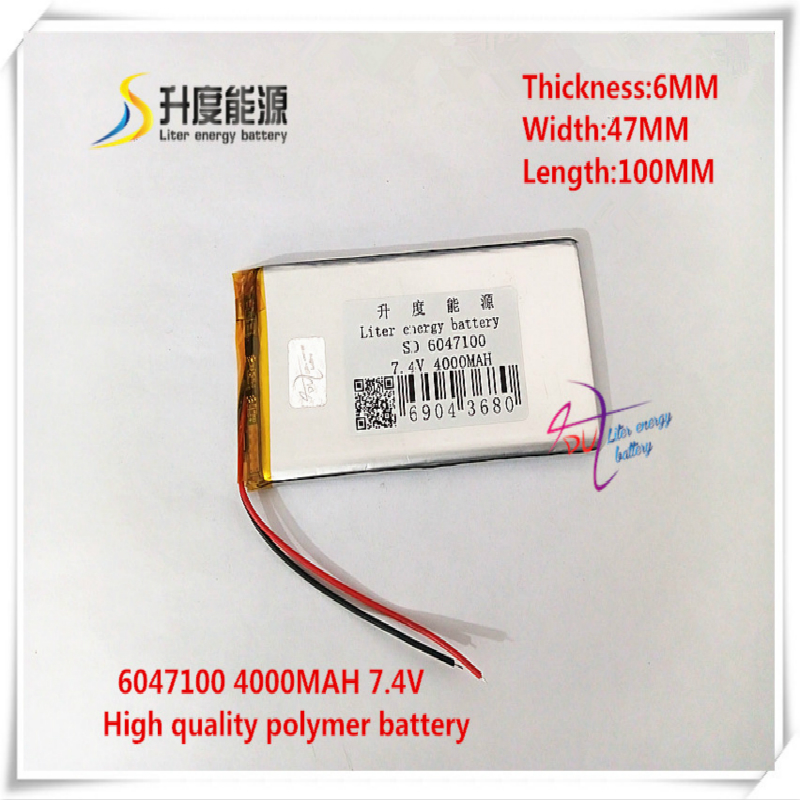 <font><b>7.4V</b></font> <font><b>4000mAh</b></font> 6047100 Polymer lithium ion <font><b>battery</b></font> for mobile bank mp4 cell phone tablet pc power bank mp3 image