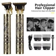 Tondeuse à cheveux électrique T9 pour hommes, rasoir à 0mm, barbier professionnel, Machine de coupe de cheveux Rechargeable par USB
