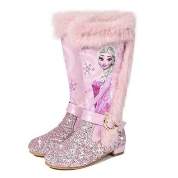 Autumn Winter New Children Princess Elsa Boots Girls Fashion Martin High Shoes Size 24-37