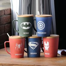 350ml/520ml Kreative Becher Keramik Kaffee Tasse Und Super Avenger Matt Keramische Tasse Mit Deckel Große Kapazität tee Tasse Löffel Geschenk