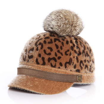 Filly Winter Baby Pompom Leopard Hat – Light Brown