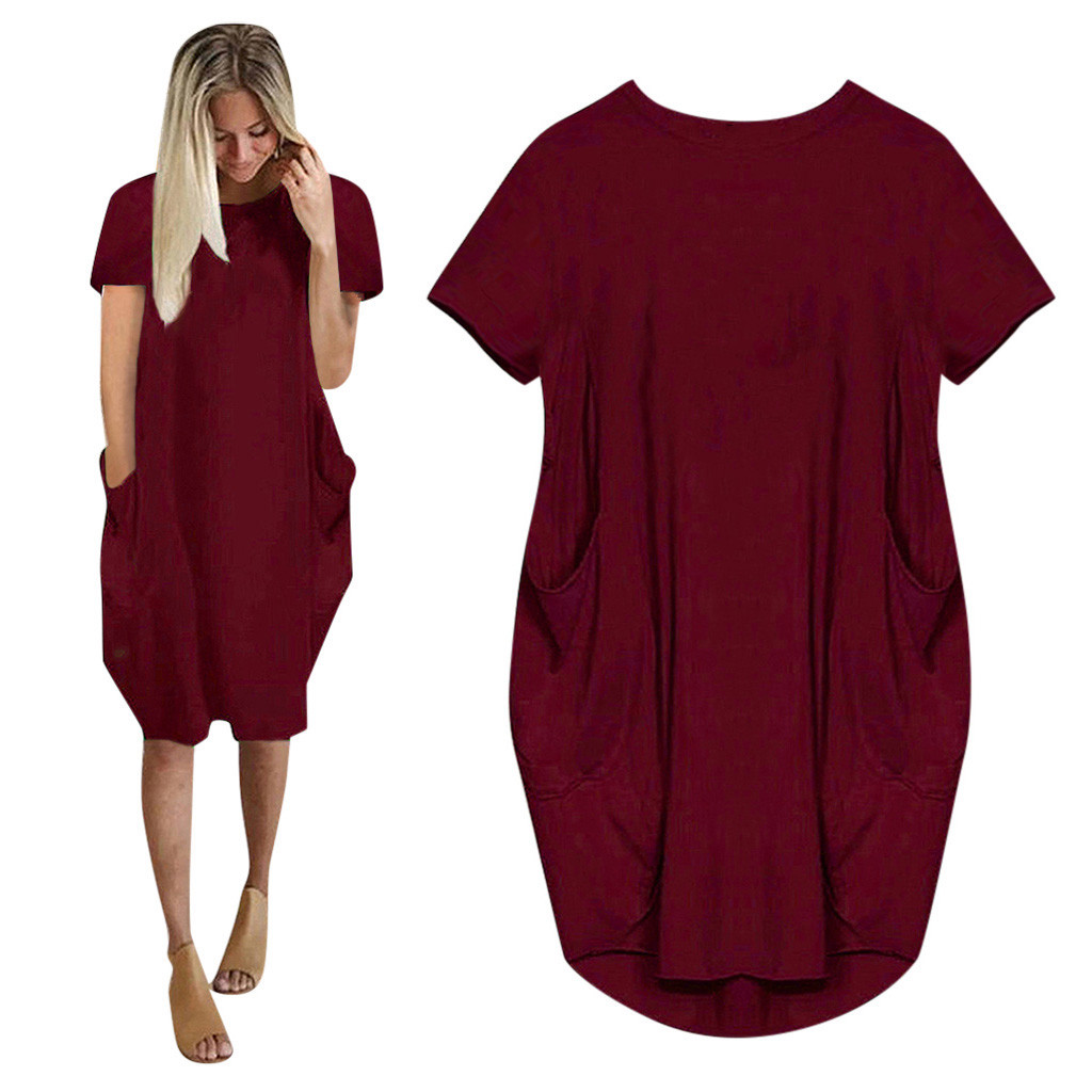 Women Casual Loose Dress with Pocket Ladies Fashion O Neck Long Tops Female T Shirt Dress