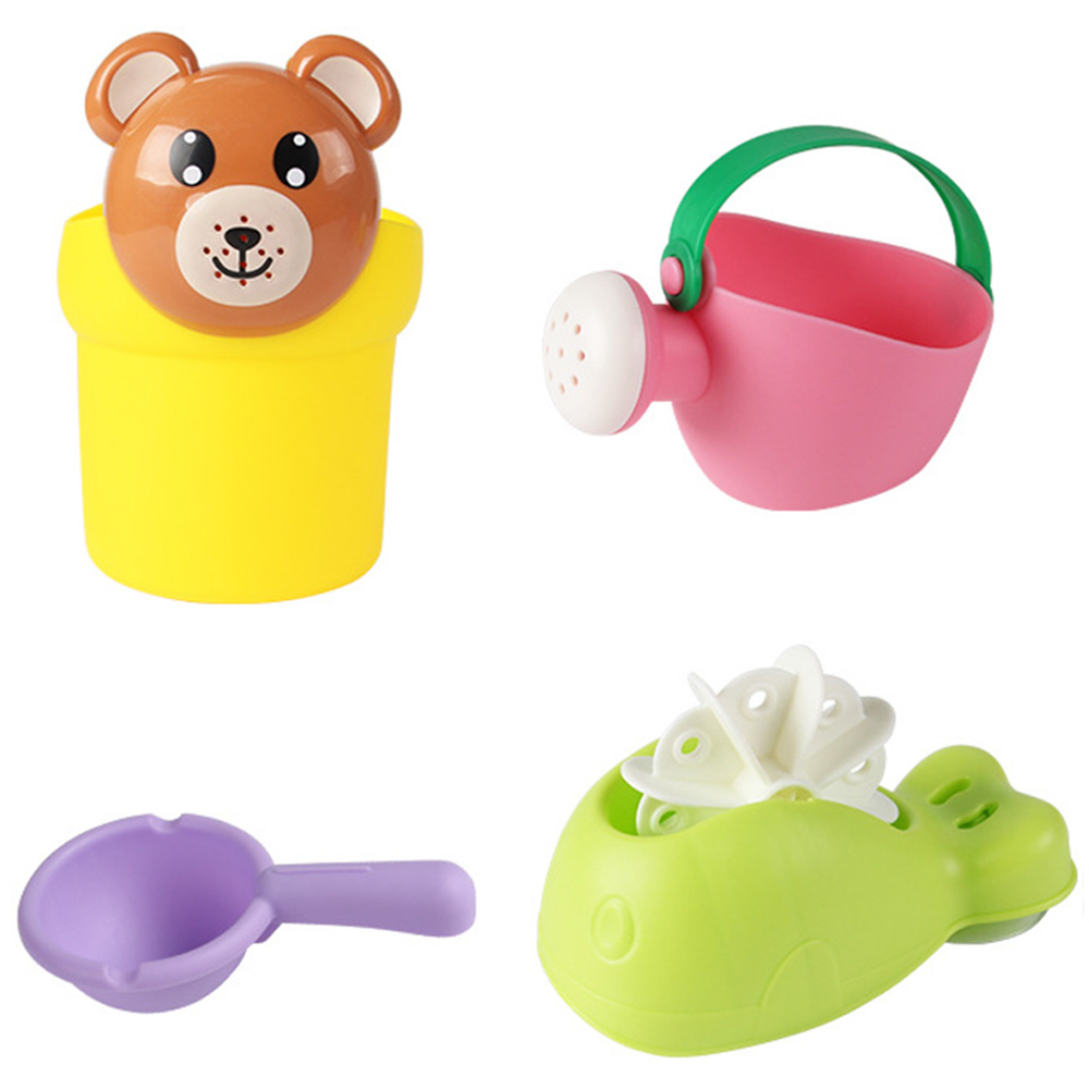 4 Pcs Bath Toys Set Shampoo Cup Spoon Shower Swimming Water Toys