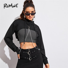 ROMWE Chain Detail Super Crop Hooded Sweatshirt Women Autumn Long Sleeve Black Sweatshirt Sexy Highstreet Crop Top Lady Clothes цена в Москве и Питере