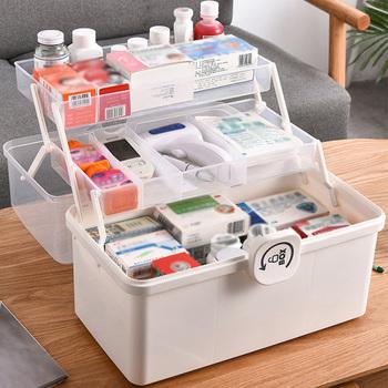 3 2-Layer przenośna apteczka przeźroczyste tworzywo sztuczne wielofunkcyjny zestaw ratunkowy do przechowywania medycyny o dużej pojemności tanie i dobre opinie CN (pochodzenie) Ekologiczne Home first aid kit Three-layer medicine cabinet High capacity Emergency kit Foldable storage box