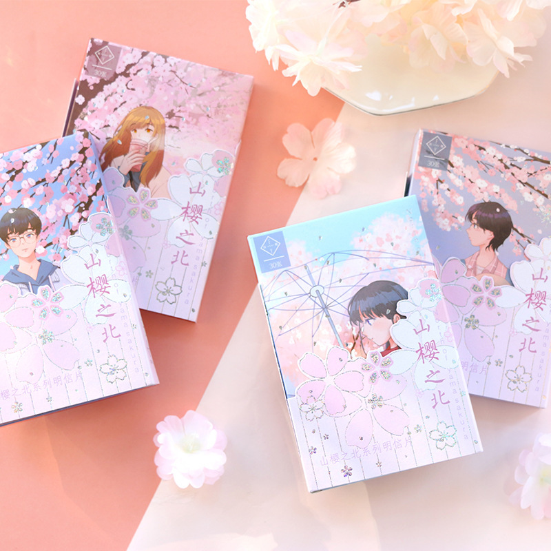 30 Sheets/Set Kawaii Anime Girl And Sakura Postcard Birthday Bussiness Gift Card DIY Journal Decoration