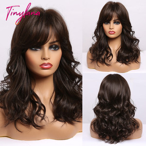 TINY LANA Natural Wavy Medium Synthetic Hair Wigs with Bangs Ombre Brown Wavy Wigs for Black Women Cosplay Heat Resistant Fiber