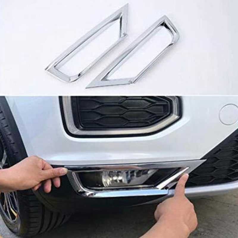 1 Pair Car Front Fog Light Strip Frame Cover Trim for T-Roc 2017 2018 ABS Chrome Decoration Accessories