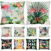 Flamingo Cushion Cover Decoration Summer Tropical Plant Flamingo Pillow Case Hawaii Party Home Sofa Pillow Cover Supplie 45x45cm
