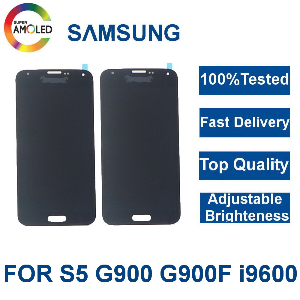 <font><b>Super</b></font> <font><b>AMOLED</b></font> LCDs For <font><b>Samsung</b></font> Galaxy <font><b>S5</b></font> I9600 G900 G900A G900F Phone LCDs <font><b>Display</b></font> Touch Screen Digitizer Assembly Replacement image