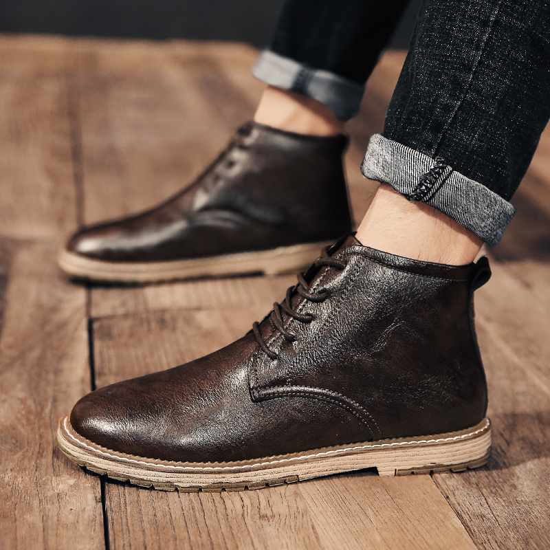 Men 39 s Boots For Men 2019 New Autumn Winter Boots Men 39 s Shoes Fashion Basic Boots Motorcycle Booties Lace Up Durable Ankle Boots in Motorcycle boots from Shoes