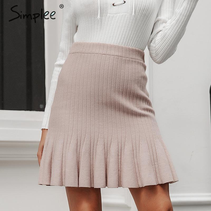 Simplee Sweet Ruffled A-line Women Skirt Autumn Winter High Waist Knitted Female Short Skirt Casual Party Ladies Mermaid Skirt