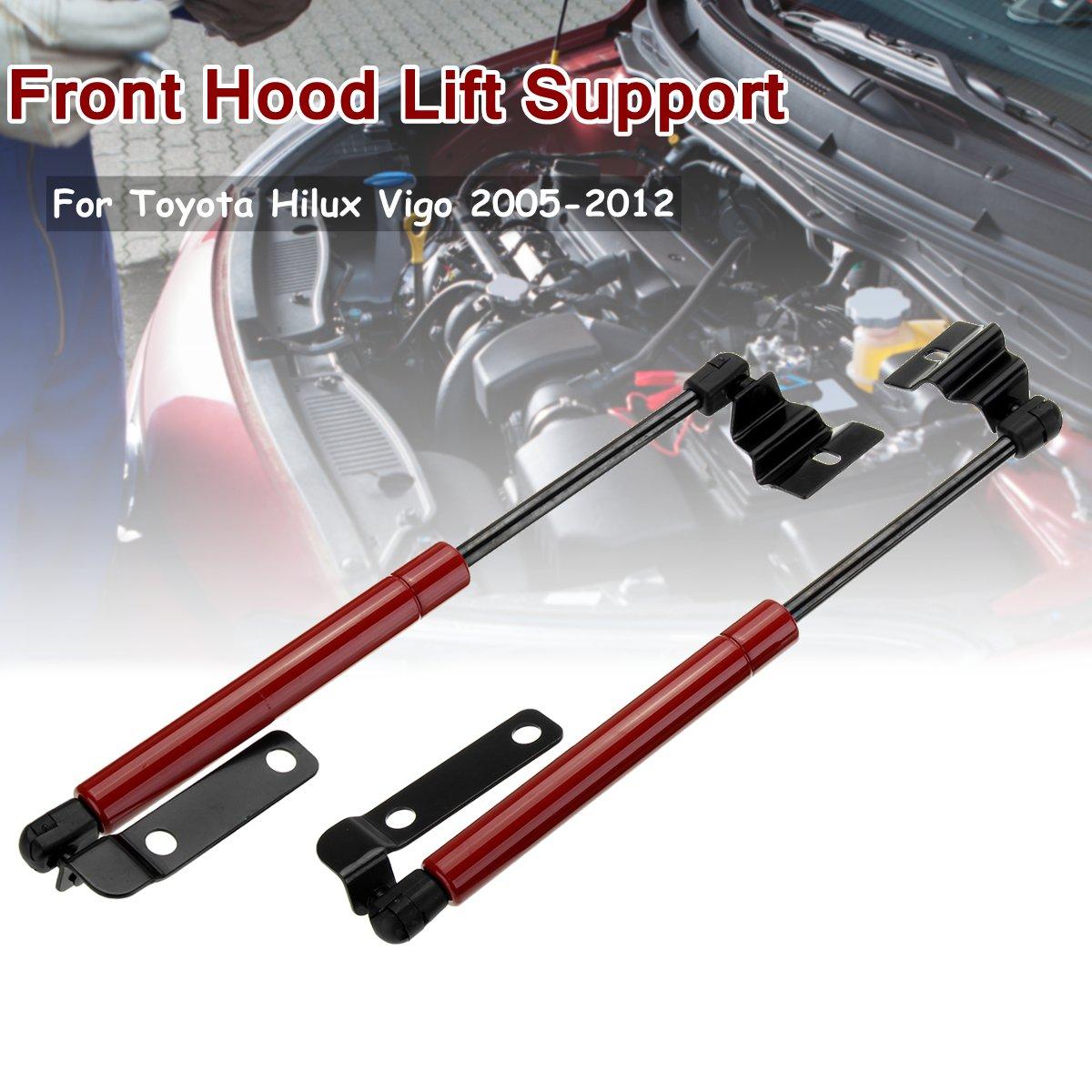 2X ฝาครอบด้านหน้า Bonnet Hood แรงกระแทก Struts บาร์สนับสนุนแขนแก๊สไฮดรอลิกสำหรับ Toyota HILUX Vigo SR5 2005 2006-2012