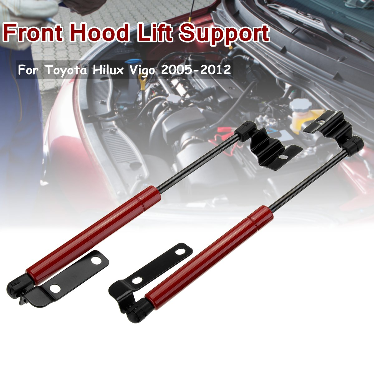 2X Front Engine Cover Bonnet Hood Shock Lift Struts Bar Support Arm Gas Hydraulic For Toyota Hilux Vigo SR5 2005 2006 - 2012