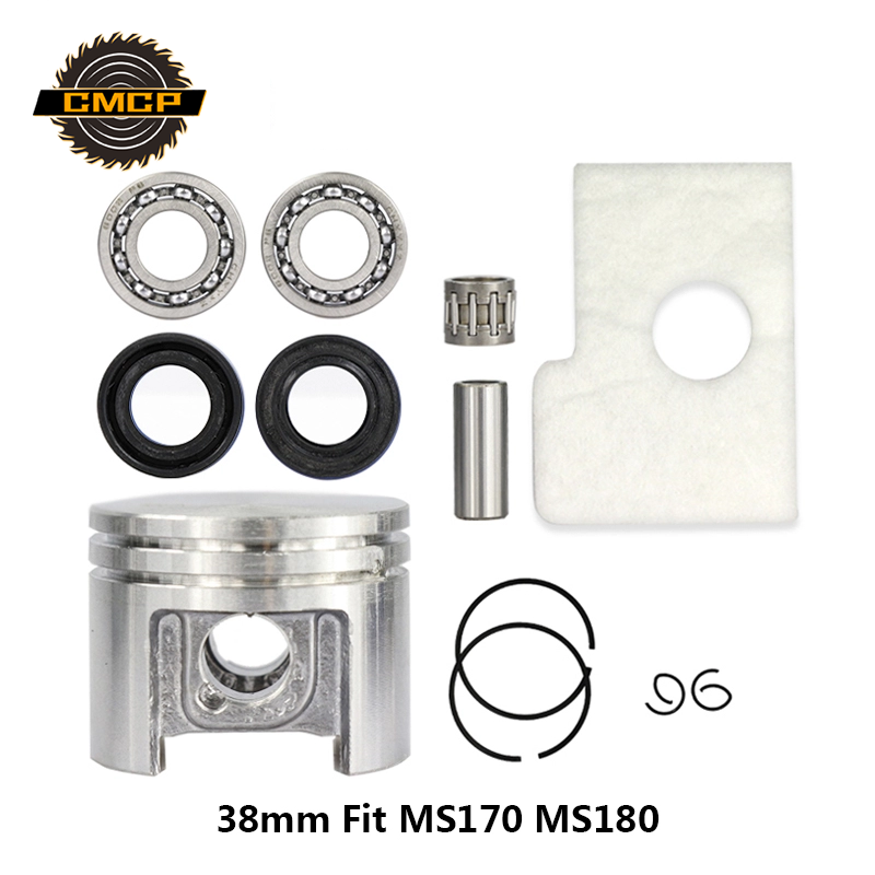 38mm Motor Piston Kit Crankshaft Bearing Oil Seals Kit Fit Stihl Chainsaw MS180 MS170 Chainsaw Spare Parts