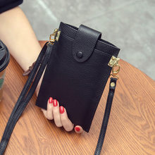PUOU 2020 Echtem Leder Ultra-dünne Brieftasche Telefon Tasche Multi-karte Paket Handy Geldbörsen Karte Halter Schulter Tasche für Frauen