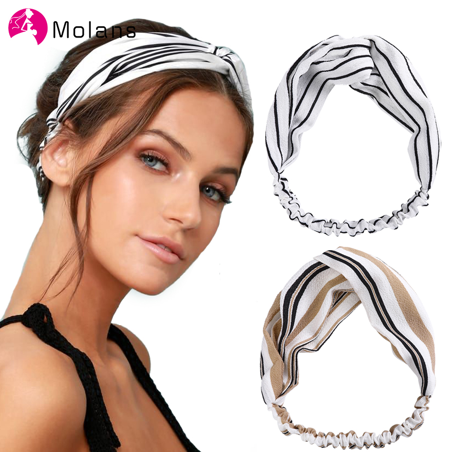 2020 New Spring Stripe Twist Headband Turban Women Sport Yoga Bandana Head Wrap Stretch Strips Headwear Hair Accessories