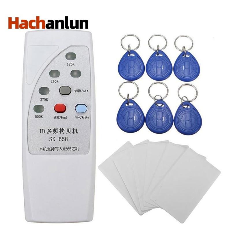 Lector de lector de tarjetas RFID EM4305, de mano, duplicador RFID T5577 125/250/375/500KHz, lector de tarjetas Lector de fotocopiadora de tarjetas RFID NFC, duplicador inglés, programador de frecuencia 10 para tarjetas de ID IC y todas las tarjetas 125kHz + 5 uds. ID 125k