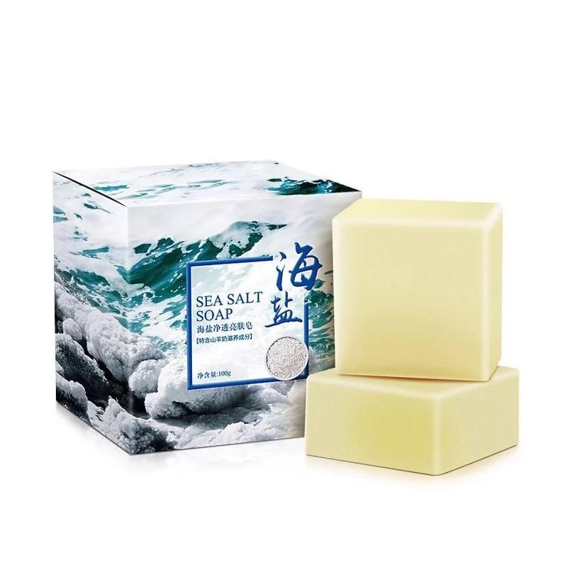 Removal Pimple Pore Acne Treatment Sea Salt Soap Cleaner Moisturizing Oil-Control Goat Milk Soap Face Care Wash Basis Soaps100g