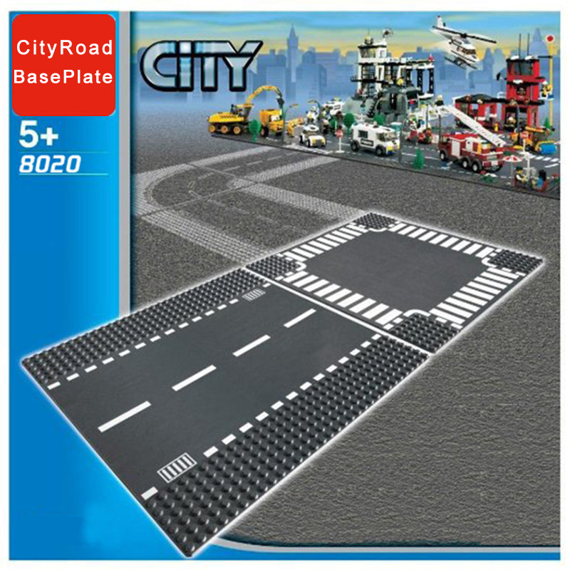 Classic City Road Street Baseplate Block Straight Crossroad Curve T Junction DIY Assembly Building Blocks Parts Base Plate Gift