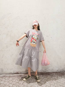 Dresses TREE Graphic-Print Drawstring Funny Korean Casual Women Summer Ladies Waist-Half-Sleeve