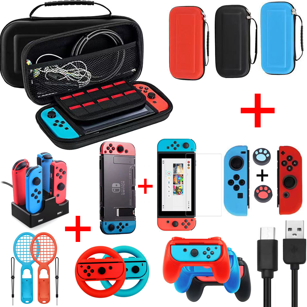 9 in 1 for game Nintend switch nintedo Accessories Kit with Steer Wheel Handle Grips Silicone Case nitendo swich Joy-con