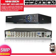 NINIVISION H.265 + Hi3531 Chip 5MP 4MP 16CH 16 Kanal 6 in 1 Hybrid Analog TVI CVI NVR AHD CCTV DVR Überwachung Video Recoder