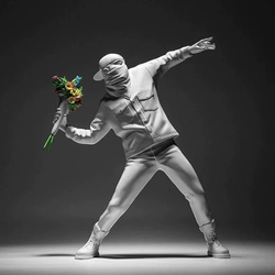 Banksy Flower Thrower Home Decoration Accessories Modern Ornaments Creative Table Statue Resin Desk Decor
