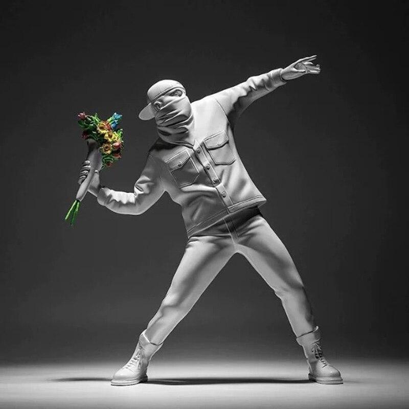 Banksy flor lançador acessórios de decoração para casa moderno ornamentos criativo estátua mesa resina decoração
