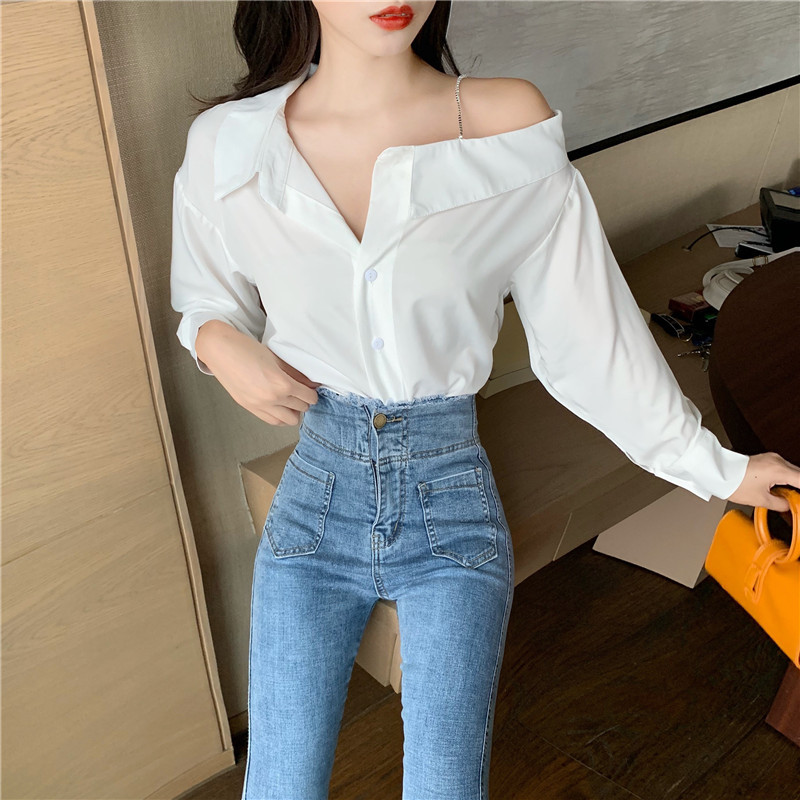 Online Celebrity Live Clothes Sexy Photogenic Female Anchor Clothing Camisole Off-Shoulder Shirt Tops High Waist Jeans Set