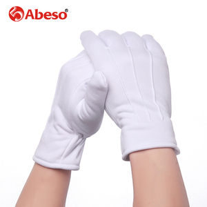 Image 2 - Abeso 10 Pair Plus Cashmere thick elastic Large white gloves White color Etiquette gloves driving gloves A1008