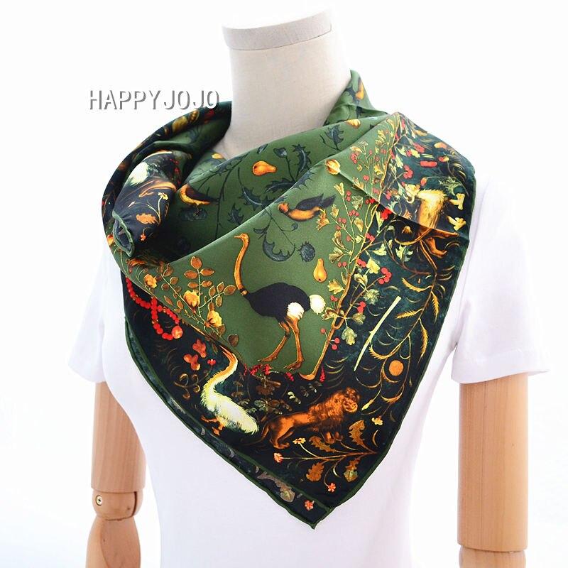 Армейский зеленый Роскошный натуральный шелковый шарф для женщин с рисунком птички 100% натурального шелка саржевого шарфы, палантин, шаль к...