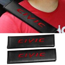 For Honda Civic Emblem Badge 2PCS Car Safety Seat Belt Cover Carbon Fiber Leather Auto Seat Belt Shoulder Protector Cushion Pads