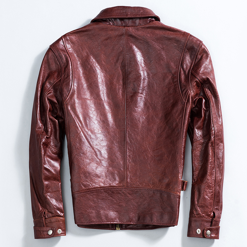 2020 Genuine Leather Jacket Men Vintage Real Cow Leather Coat Spring Autumn Cowhide Motorcycle Jacket Man KJ2538