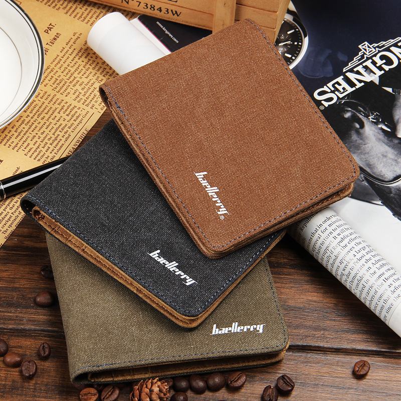 Hot Sale Fashion Men Wallets Quality Soft Linen Design Wallet Casual Short Style 3 Colors Credit Card Holder Purse Free Shipping 1
