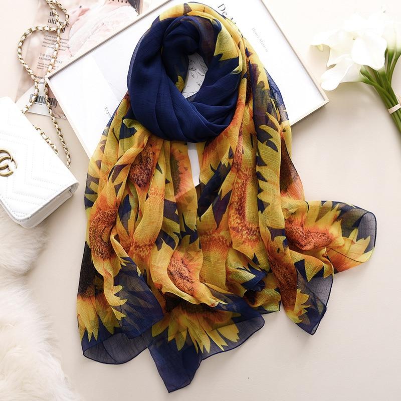 Flower Scarves Spring Summer Women Beach Towel Long Soft Shawls Dual Wraps Silk