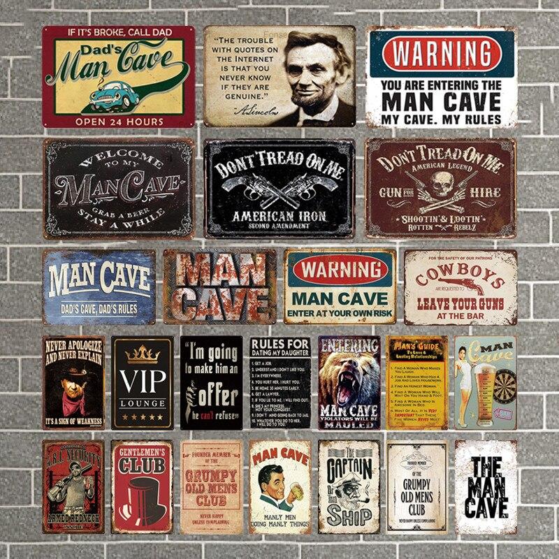 Man Cave Signs Vintage Metal Sign Plaque Metal Vintage Retro Tin Sign Wall Decor for Man Cave Bar Pub Garage Decorative Plate