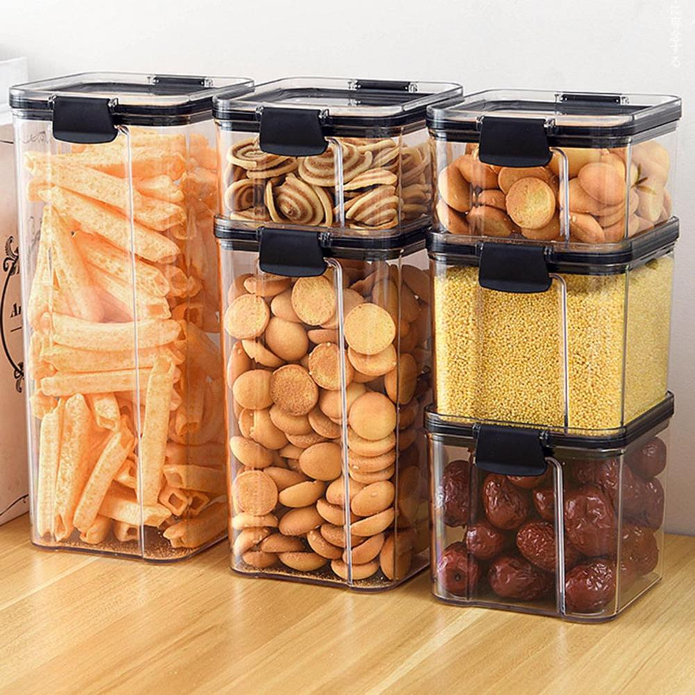 1800ML Clear Food Containers With Buckle Lids Plastic Sealed Cans Kitchen Transparent Food Canister Keep Food Fresh Crisper