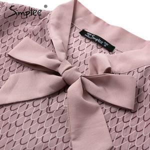 Image 5 - Simplee Casual geometric long sleeve women blouse shirt Summer spring neck tie blouses shirt Elegant work wear loose female top