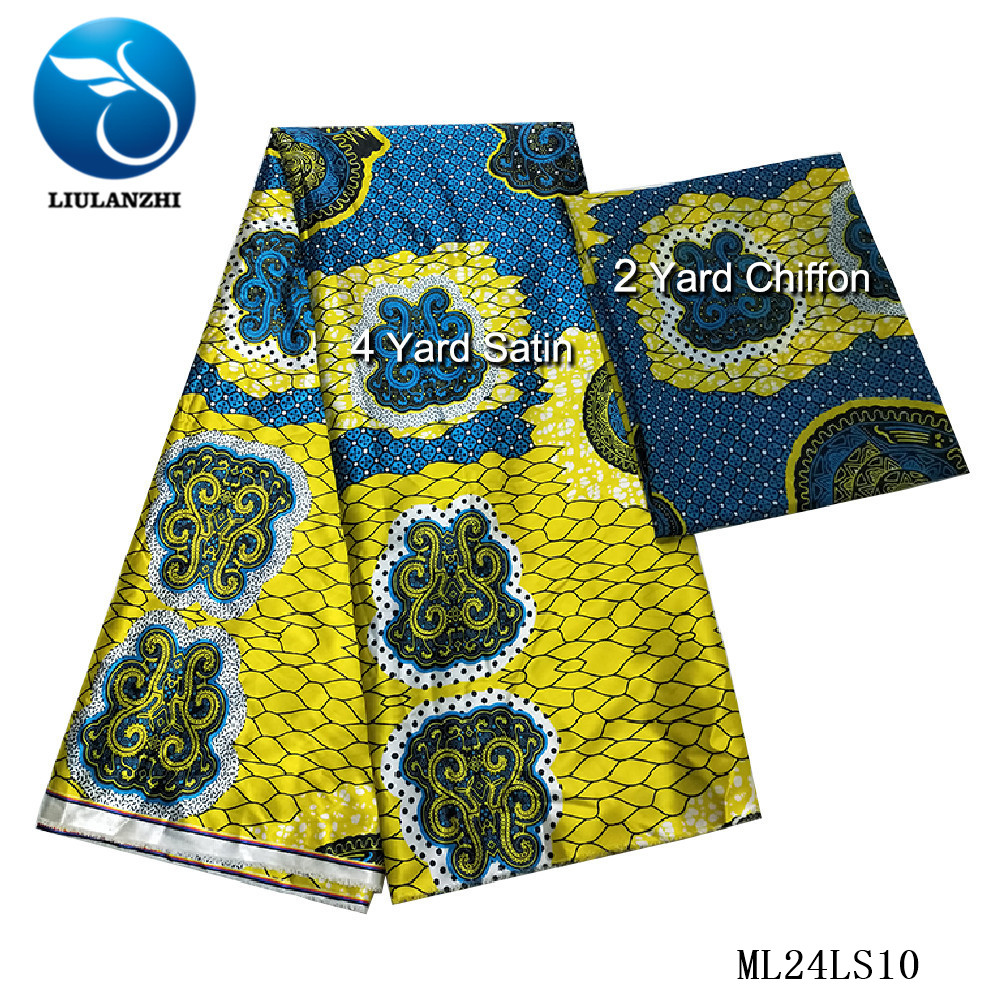 LIULANZHI africain imprime Tissu en Satin 4 yards + 2 yards mousseline de soie 2019 dernière robe en Satin Ankara couture impression Tissu ML24LS01-13