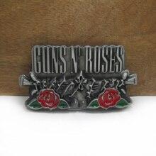 Bucklelub Ретро пистолеты и розы музыкальный ремень с пряжкой для джинсов Подарочный ремень пряжка FP-03233 Оловянная отделка 4 см ширина петля Прямая
