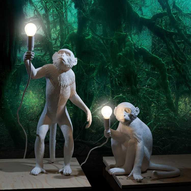 Смола светодиодный кулон с обезьяной свет черный белый пеньковая веревка лампа гостиная висячие лампы для дома искусство Гостиная Кабинет комната блеск E27