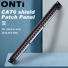 ONTi 19in 1U Rack 24 Port CAT6 Shielded Patch Panel RJ45 Network Cable Adapter Keystone Jack Ethernet Distribution Frame