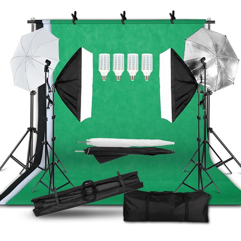 Professional Photography Kit Lighting Equipment Soft Light Umbrella Softbox Bulb Holder Light Bulbs Backdrops Photo Studio Kits 1