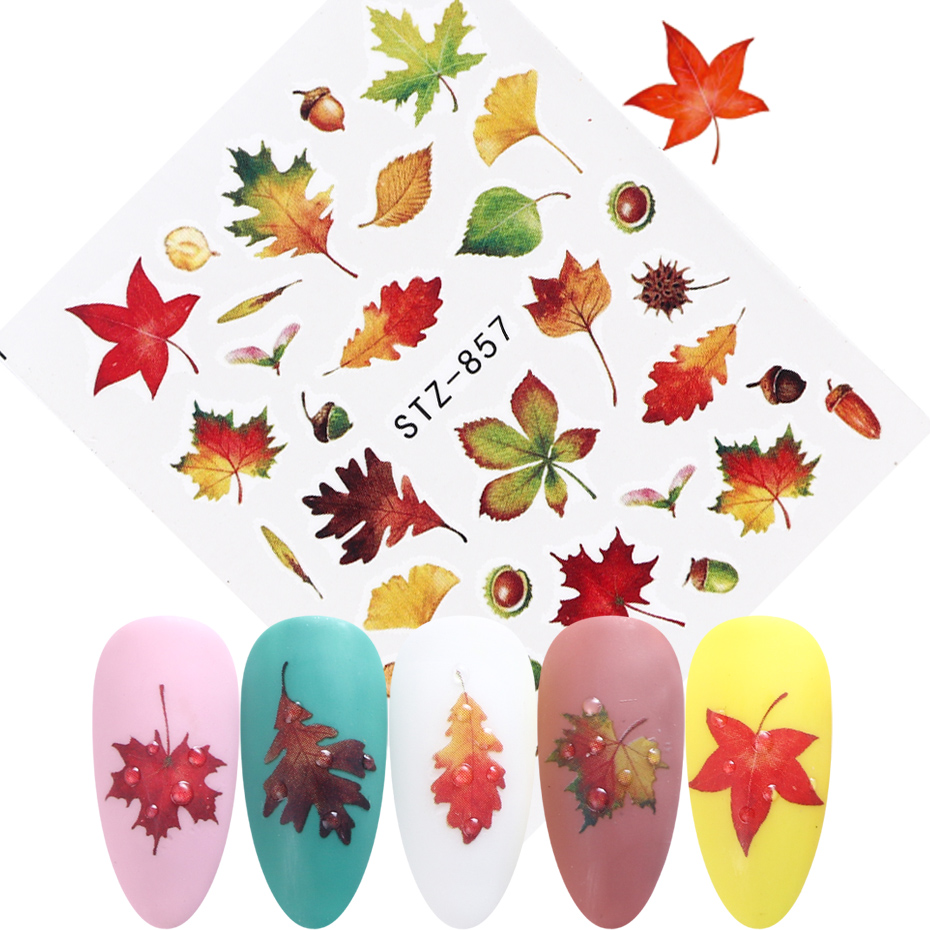 Image 3 - 1pcs Fall Leaves Nail Art Stickers Gold Yellow Maple Leaf Water Decals Sliders Foil Autumn Design For Nail Manicure TRSTZ856 859-in Stickers & Decals from Beauty & Health