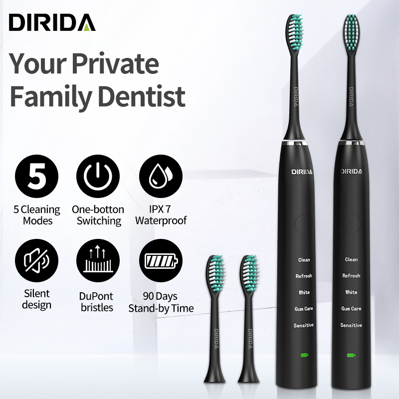 New DIRIDA S100 Rechargeable Sonic Toothbrush Waterproof Electric Toothbrush 5 Mode Cleaning Teeth Oral Care
