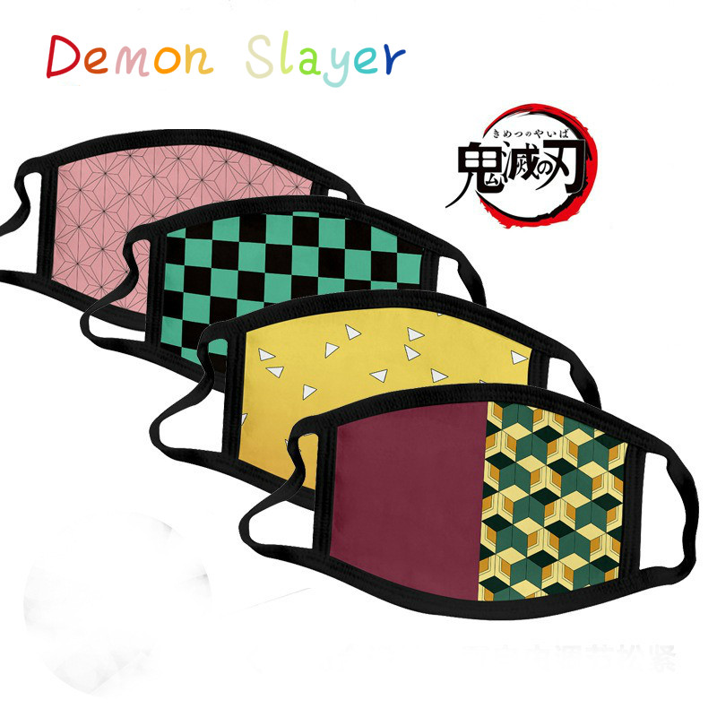 Cartoon Anime Demon Slayer Peripheral Printing Mask Cosplay Item Accessories Dustproof Anti-fog Fashion Printed Wash Mask