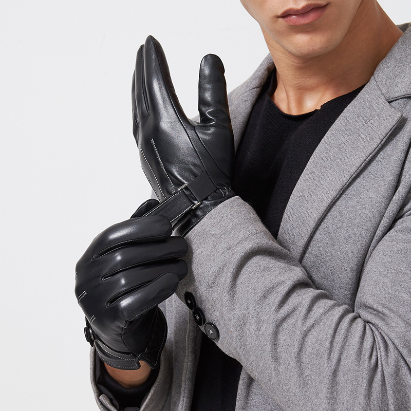 Male 2020 Winter Leather PU Black Touched Screen Warm Glove Man Gym Luvas Car Driving Mittens Handschoenen Rekawiczki