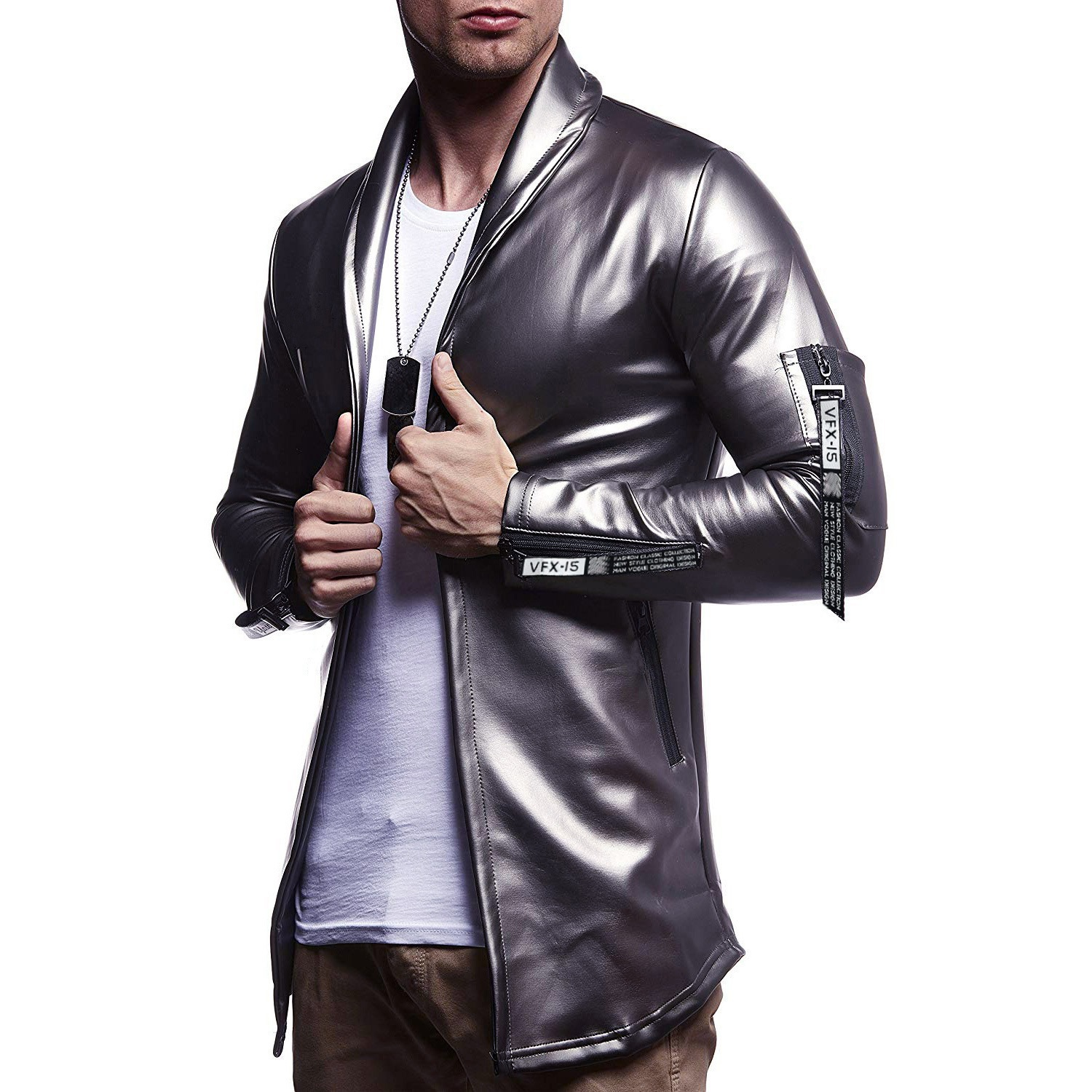 MEN'S WEAR 2019 Autumn And Winter New Style Leather Coat Casual's Glitter Clothes Shop-Style Slim Fit PU Leather Suit Jacket